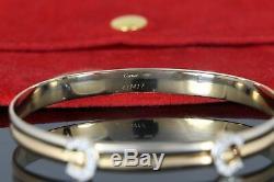 Rare Estate Vintage Cartier 750 18K Yellow White Gold Diamond Double C Bracelet