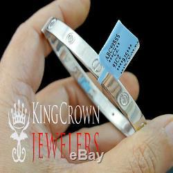 Real Sterling Silver Lab Diamond Bangle Style White Gold Finish Unisex Bracelet