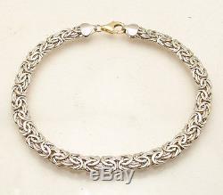 Reversible Shiny Byzantine Bracelet Real 14K Yellow White Gold Lobster Clasp QVC