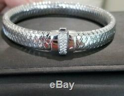 Roberto Coin 18k White Gold Diamond Primavera Bracelet Bangle Box Pouch