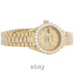 Rolex 18K Gold President 26mm DateJust 69178 VS Diamond Champagne Watch 4.46 CT