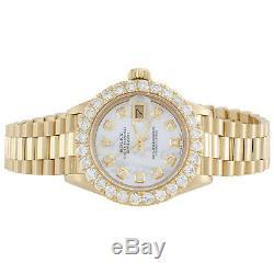 Rolex 18K Gold President 26mm DateJust 69178 VS Diamond White MOP Watch 2.08 CT