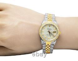 Rolex 18K/ Steel Two Tone Datejust 36MM 16013 MOP Dial Diamond Watch 8.5 Ct