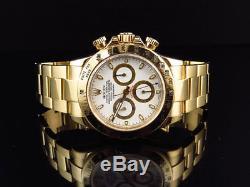 Rolex 18K Yellow Gold Daytona 40mm White Dial Oyster Bracelet -16528-New Buckle