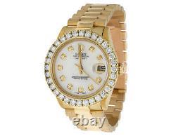 Rolex 18K Yellow Gold President Datejust 31MM Midsize 68278 Diamond Watch 3.5 Ct