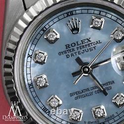 Rolex 26mm Datejust Baby Blue MOP Diamond Accent Dial 18k White Gold & SS Watch