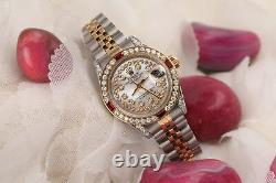 Rolex 26mm Datejust White Mother Of Pearl String Dial Ruby & Diamond Bezel