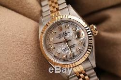 Rolex 26mm Datejust White Mother of Pearl Diamond Dial Fluted Bezel 2 Tone