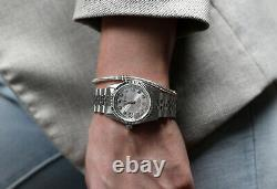 Rolex 31mm 18K White Gold & Steel SS Datejust Silver String Diamond Ladies Watch