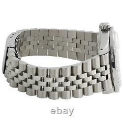 Rolex 36mm DateJust 1601 Mens Jubilee Black Roman Numeral Diamond Watch 1.90 CT