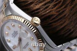 Rolex 36mm Datejust White Mother Of Pearl 8+2 Diamond Dial 2 Tone Watch
