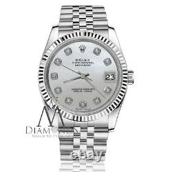 Rolex 36mm Datejust White Mother Of Pearl Diamond Dial 18k & Ss Jubilee Watch