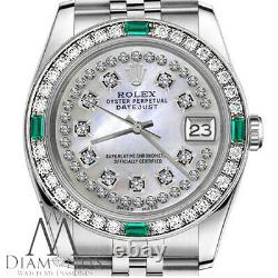 Rolex 36mm Unisex Datejust White MOP String Diamond Dial with Emerald Watch