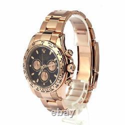 Rolex Cosmograph Daytona 18K Rose Gold Black & Pink Dial Mens Watch 116505