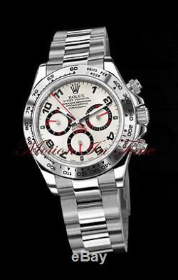 Rolex Cosmograph Daytona White Gold on Bracelet with Rare Silver & Red Dial 116509