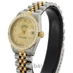 Rolex DateJust 18K Gold / TT 31mm Diamond Watch Dial 68273 Jubilee Band 1.15 CT