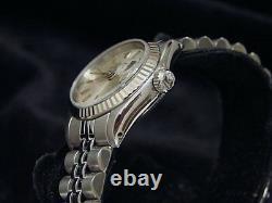 Rolex Date Lady Stainless Steel Watch 18K White Gold Bezel Jubilee Silver 69174
