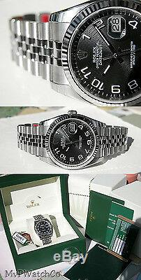 Rolex Datejust 116234 Steel & White Gold Black Arabic Concentric Dial 36mm Watch
