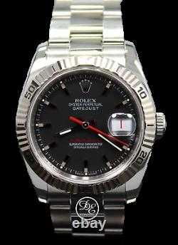 Rolex Datejust 116264 Turn-O-Graph 18K White Gold Bezel Black Dial FULLY SERVICE
