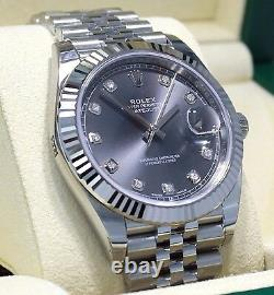 Rolex Datejust 126334 41mm Jubilee Rhodium Diamond Dial 18K W Gold Bezel NEW