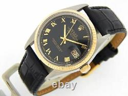 Rolex Datejust 1601 Mens 14K Yellow Gold Stainless Steel Watch Black Roman Dial