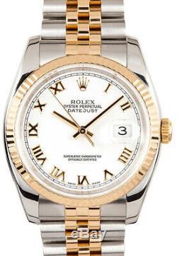 Rolex Datejust 18k Yellow Gold/Steel Roman White Dial Mens Watch 116233