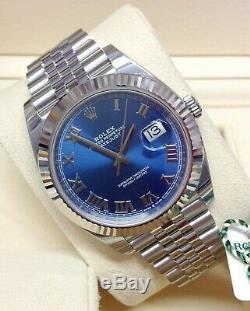 Rolex Datejust 41 126334 Blue Roman Dial Jubilee Bracelet BOX AND PAPERWORK 2019