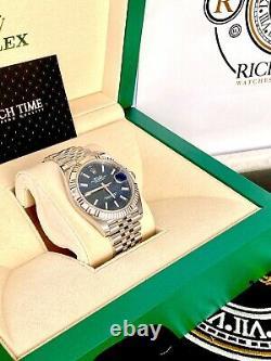 Rolex Datejust 41 126334. Stunning Blue Dial White Gold Bezel Jubilee Bracelet