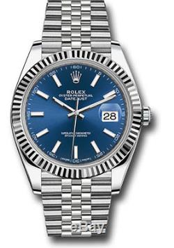 Rolex Datejust 41mm Stainless Steel Jubilee Bracelet White Gold Blue Dial 126334
