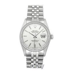 Rolex Datejust Auto 36mm Steel White Gold Mens Jubilee Bracelet Watch 16014