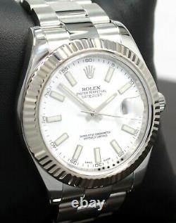 Rolex Datejust II 116334 41mm White Dial 18K White Gold Fluted Bezel Watch MINT