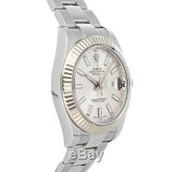 Rolex Datejust II Auto 41mm Steel White Gold Mens Oyster Bracelet Watch 116334