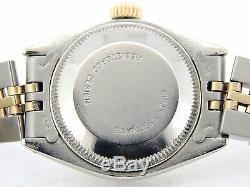 Rolex Datejust Ladies 2Tone 14K Gold Stainless Watch White MOP Diamond Dial 6917