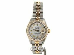 Rolex Datejust Ladies 2Tone 18K Gold & Steel Watch Diamond Bezel White MOP 69173