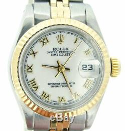 Rolex Datejust Ladies 2Tone 18K Yellow Gold & Steel Watch White Roman Dial 69173