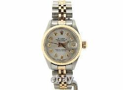Rolex Datejust Ladies 2Tone Gold Stainless Steel Watch Silver Diamond 6917