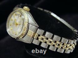 Rolex Datejust Ladies Two-Tone 14K Yellow Gold & Steel Watch Silver Diamond 6917