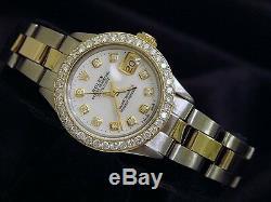 Rolex Datejust Lady 14K Yellow Gold Steel Watch White MOP Diamond Dial 1ct Bezel