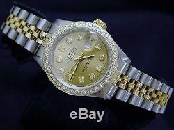 Rolex Datejust Lady 2Tone Yellow Gold & Steel Watch with Diamond Dial & Bezel