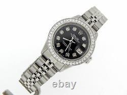 Rolex Datejust Lady Stainless Steel Watch Jubilee Black Diamond Dial. 70ct Bezel