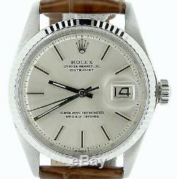 Rolex Datejust Men Stainless Steel 18K White Gold Watch Silver Dial Brown 1601
