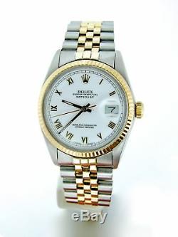 Rolex Datejust Mens 18K Yellow Gold & Steel Watch White Roman Dial Jubilee 16013