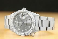 Rolex Datejust Mens 18k White Gold Diamond Stainless Steel Gray Dial Watch