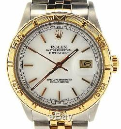 Rolex Datejust Mens 2Tone 18k Gold & Steel Thunderbird Turn-O-Graph White 16263