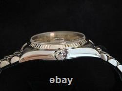 Rolex Datejust Mens Stainless Steel 18K White Gold Quickset Jubilee Silver 16234