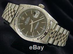 Rolex Datejust Mens Stainless Steel & 18K White Gold Watch Jubilee Black 16234