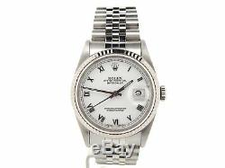 Rolex Datejust Mens Stainless Steel & 18K White Gold with White Roman Dial 16234