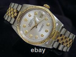 Rolex Datejust Mens Stainless Steel Yellow Gold Watch Silver Diamond Dial 16013