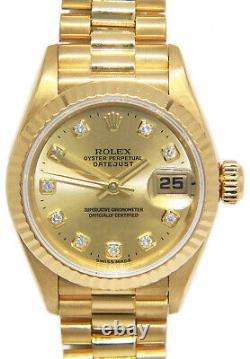 Rolex Datejust President 18k Yellow Gold Diamond Dial Ladies 26mm Watch T 69178
