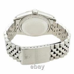 Rolex Datejust Steel 18K White Gold Silver Dial Automatic Mens Watch 16234